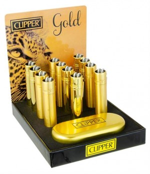 Clipper Feuerzeug Metall Gold inkl. Dose