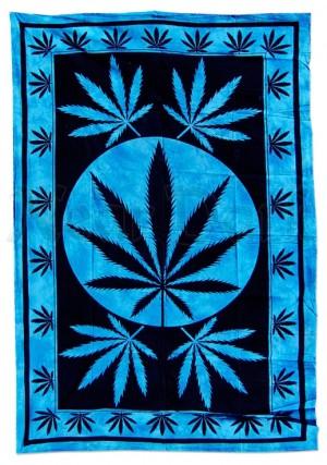 Batiktuch Hanfblatt blau