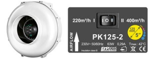 PK Kombo-Kit, Rohrventilator 125 Two-Speed 400m3/h