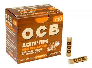 OCB Activ'Tips Slim Unbleached Aktivkohlefilter 7mm 50 Stk.