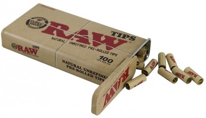 Raw Prerolled Tips Tin 100 Stk.