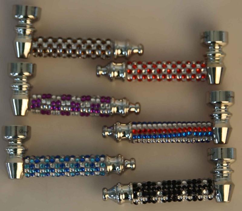 Metallpfeife mit Perlen (8 cm)